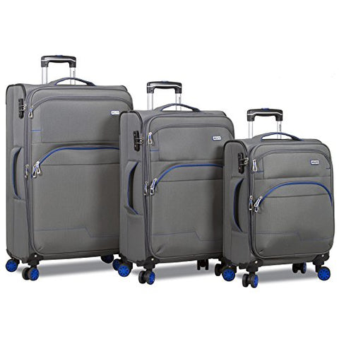 Dejuno Everest 3-Piece Expandable Spinner Combination Lock Luggage Set, Grey