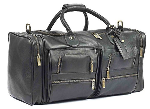 Robert Meyers Fine Leather Classic Duffel Bag (Black)