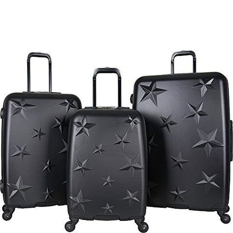 "Aimee Kestenberg Women'S Abs Embossed Star 4-Wheel 3-Piece Luggage Set: 20"" Carry-On, 24"", 28"", Black"