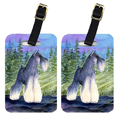 Caroline's Treasures SS1061BT Pair of 2 Schnauzer Luggage Tags, Large, multicolor