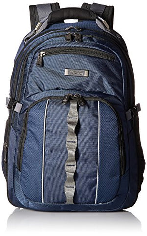 "Kenneth Cole Reaction 1680d Polyester Expandable Double Gusset 17.3"" Laptop Backpack, Navy"