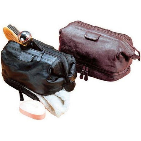 Cowhide Leather Travel Kit Color: Black