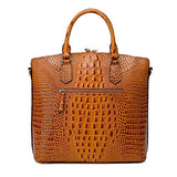 Vicenzo Leather Dione Croc Embossed Top Handle Leather Tote, Brown