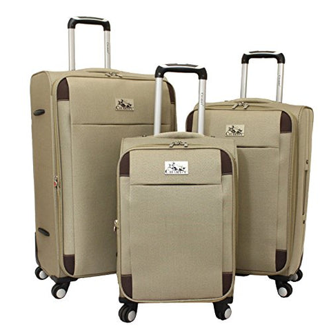Chariot Milan 3-Piece Lightweight Upright Spinner Luggage Set, Khaki