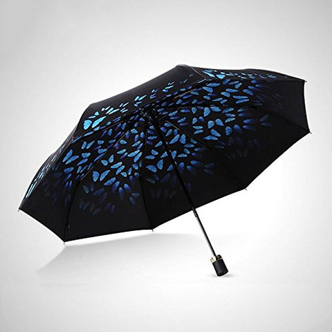 HOMEE Vinyl shade double foldable sun umbrella anti - ultraviolet rain and rain umbrella (color