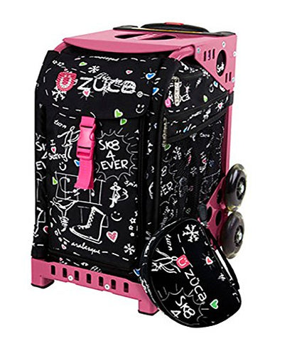 Zuca Bag Black Sk8 Limited Edition Insert & Pink Frame W/ Flashing Wheels