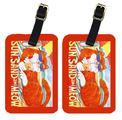 Caroline's Treasures 6050BT Pair of 2 Orange Tabby at the beach Luggage Tags, Large, multicolor