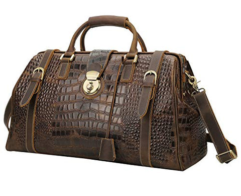"Polare 21"" Crocodile Pattern Cowhide Leather Weekender Travel Overnight Luggage Duffel Bag"