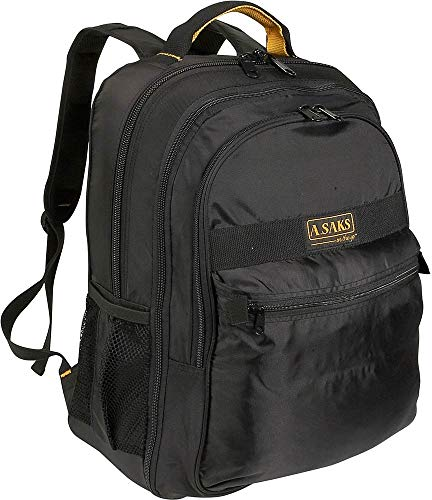 A.Saks Expandable Lightweight Nylon Computer Backpack in Black