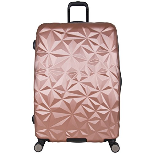 "Aimee Kestenberg Women'S 28"" Abs Expandable 8-Wheel Upright Checked Luggage, Rose Gold"