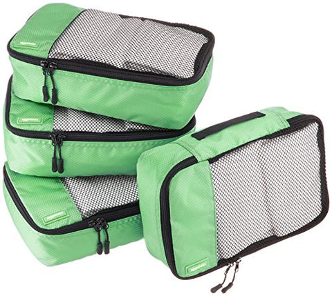 AmazonBasics Small Packing Cubes - 4 Piece Set, Green