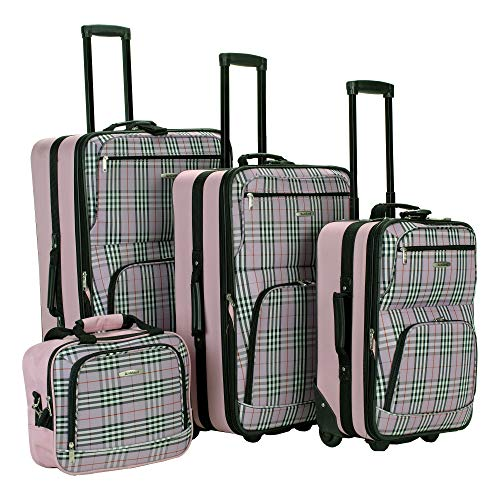 Rockland Luggage 4 Piece Luggage Set, Pink Plaid, One Size