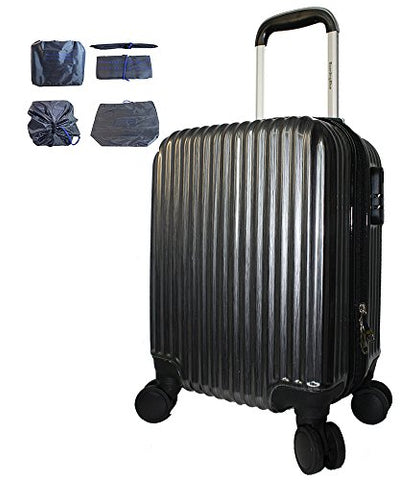 Boardingblue New Airlines Personal Item Under Seat Spinner Hard Luggage (Black) Plus Luggage Cover