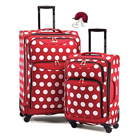 American Tourister Disney Softside Spinner 2 piece Luggage set 21 and 28 and Travel Pillow (One Size, Minnie Mouse Polka Dot)