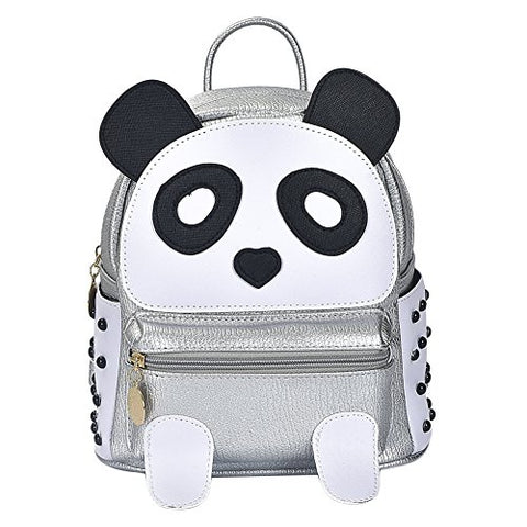 Girls Fashion Pu Leather Panda Book Bag Rivet Women Mini Casual Style Panda Backpack Silver