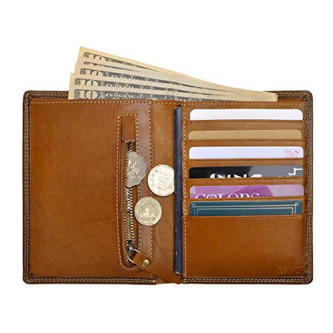 Zlyc Leather Passport Holder Travel Wallet Purse Organizer With Credit Card Slot (Yellow)