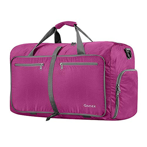 Gonex 60L Foldable Travel Duffel Bag Water & Tear Resistant, Rose Red