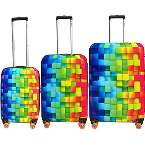 Atm Luggage 3-D Rainbow 3-Piece Hardside Spinner Luggage Set