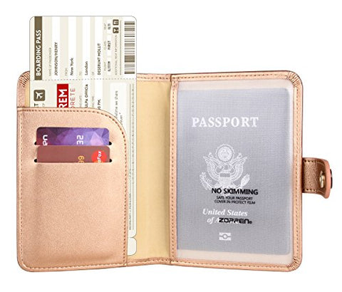 Zoppen Rfid Blocking Travel Passport Holder Cover Slim Id Card Case (#26 Rose Gold)