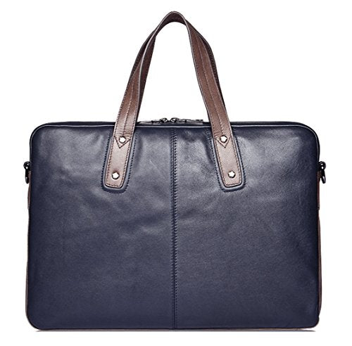 SAIERLONG New Mens Blue Genuine Leather Briefcase Shoulder Laptop Business Bag
