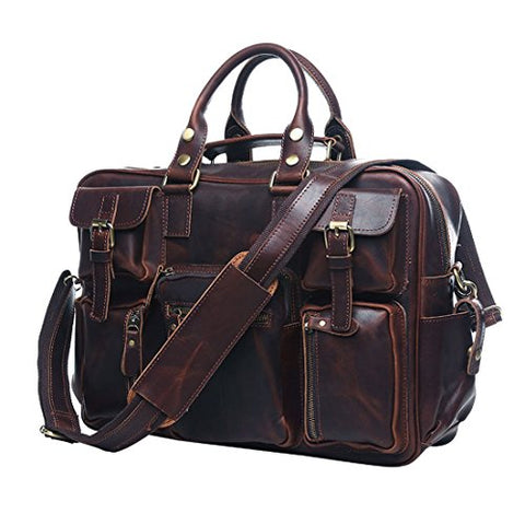 Uniwalker Vintage Genuine Leather Overnight Travel Duffel Bags Tote Handbag (Red Chocolate)