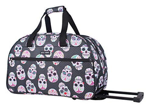 Betsey Johnson Luggage Designer Pattern Suitcase Wheeled Duffel Carry On Bag (Paris Love) (One