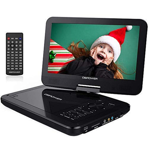 "DBPOWER 10.5"" Portable DVD Player with Rechargeable Battery, Swivel Screen, SD Card Slot and USB Port - Black"