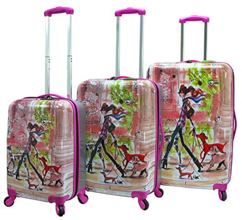 Fashionable Mia Toro Izak-Stylish Traveller Hardside Spinner Luggage 3PC w/10-Year Warranty- SPRING