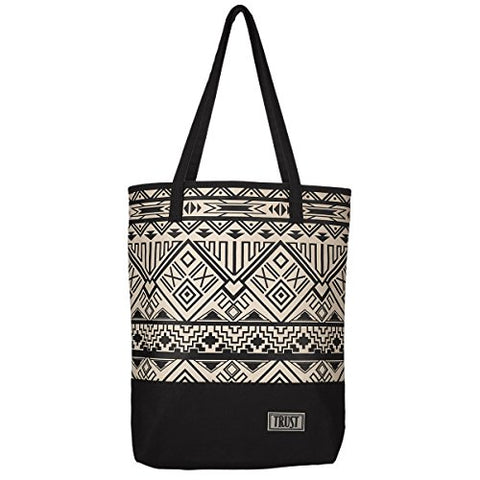 "Black & White Geometric Canvas Tote Bag W/""Trust"" Badge"