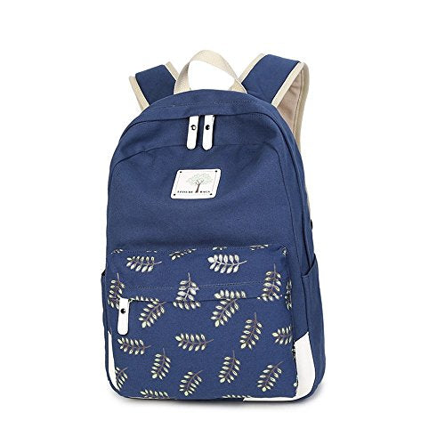 S Kaiko Flower Pattern Canvas Backpack Casual Daypacks School Backpack for Women and Men School Bag Daypack Rucksack Traveling Backpack for Hiking Claimbing (blue)