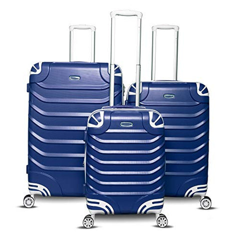 Gabbiano Aspire Collection 3-Piece Hardside Spinner Luggage Set (Blue)