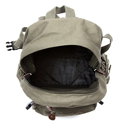 World War 2 Military Jeep Star Army Sport Heavyweight Canvas Backpack Bag in Olive & Black, Large