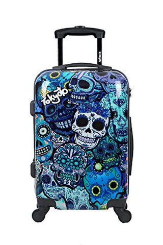 Carry-on Cabin Luggage 55x35x20 Suitcase 20 inch Approved Lightweight 4 Wheel Hard Case Kids Small Size Children Powerbank Charger Prepared BLUE SKULLS TOKYOTO LUGGAGE (TROLLEY + CHARGER)
