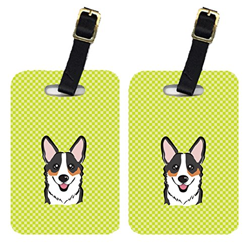 Caroline's Treasures BB1317BT Pair of Checkerboard Lime Green Corgi Luggage Tags , Large, multicolor