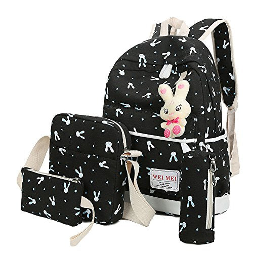 4 Pcs Teen Girls Cute Lightweight Canvas Backpack Set Rabbit Bookbag Laptop School Backpack