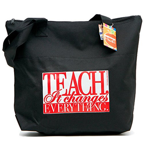 "Teacher Peach ""It Changes Everything"" Teacher Tote Bag - Large Shoulder Bag With Zipper Closure -"