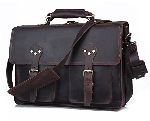 Polare 16'' Full Grain Leather Briefcase Messenger Bag Laptop Satchel For Men