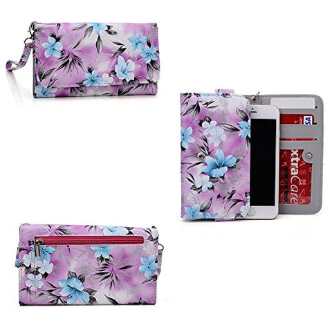 Phone Case Wallet- Hydrangea Blue- Removable Wristlet Strap Included- Universal Fit For Htc Vivid/ Htc Evo Design 4G/Htc Evo 3D Cdma