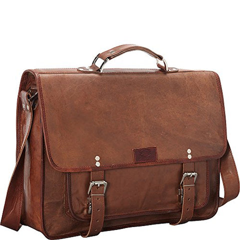 Sharo Leather Bags Wide Laptop Messenger and Brief Bag (Brown)