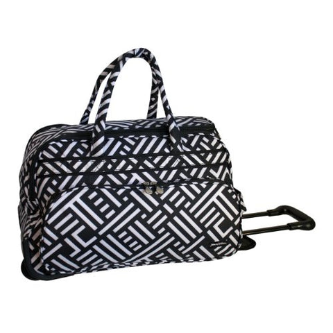 Jenni Chan Signature Deluxe Carry-All Rolling Duffel, Black/White, One Size