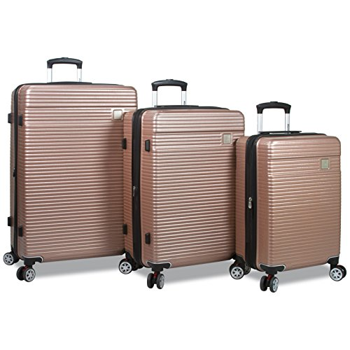 Dejuno Ashford 3-Pc Hardside Spinner Tsa Combination Lock Luggage Set-Rosegold, Rose Gold