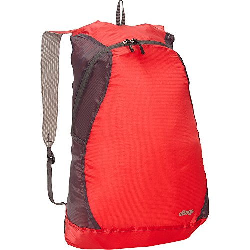 eBags Packable Super Light Backpack (Red/Charcoal)