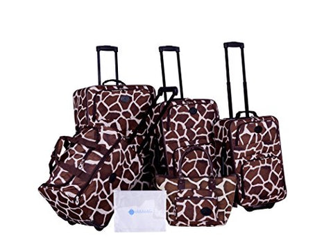 American Flyer Barnum 6-Piece Luggage Set, Giraffe Brown