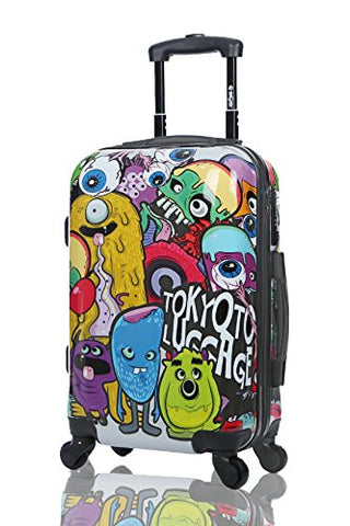 Tokyoto Luggage Carry-On Trolley Cabin Suitcase Travel Bag - Monsters&Zombies (Trolley + Charger)