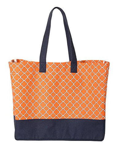 ZUZIFY Water-Repellent Full-Pattern Canvas Beach Tote Bag. AN1108 OS Orange / Navy
