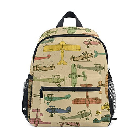 GIOVANIOR Airplanes Lightweight Travel School Backpack for Boys Girls Kids