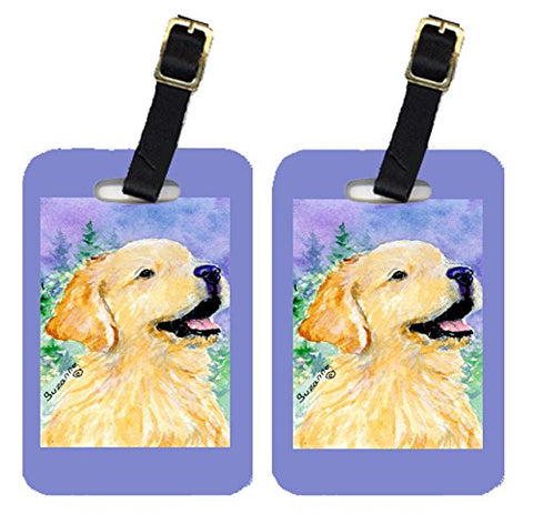 Caroline's Treasures SS8904BT Pair of 2 Golden Retriever Luggage Tags, Large, multicolor