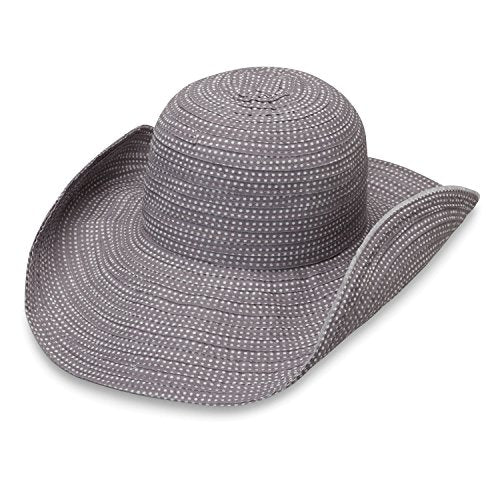 ed0fba7a5088 Wallaroo Hat Company Women's Petite Scrunchie Sun Hat – Grey/White Dots – UPF  50