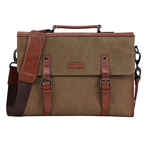 Banuce 13.3 inch Laptop Messenger Bag for Men Vintage Canvas Briefcase Tote Tablet Satchel Shoulder