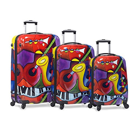 Dejuno 3-Piece Lightweight Hardside Spinner Upright Luggage Set-Jazz